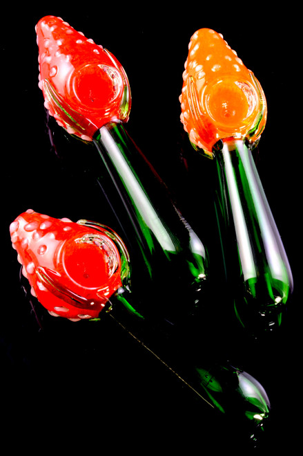 Strawberry Frit Glass Pipe - P2287