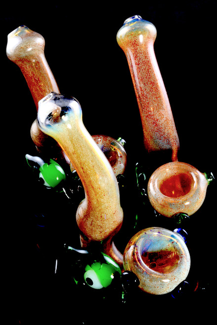 Unique Color Changing Silver Fumed Frit Eyeball Sherlock Glass Pipe - P2291