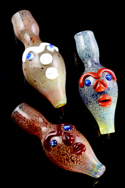 Unique Face Silver Fumed Frit Color Changing Glass Chillum - C0276