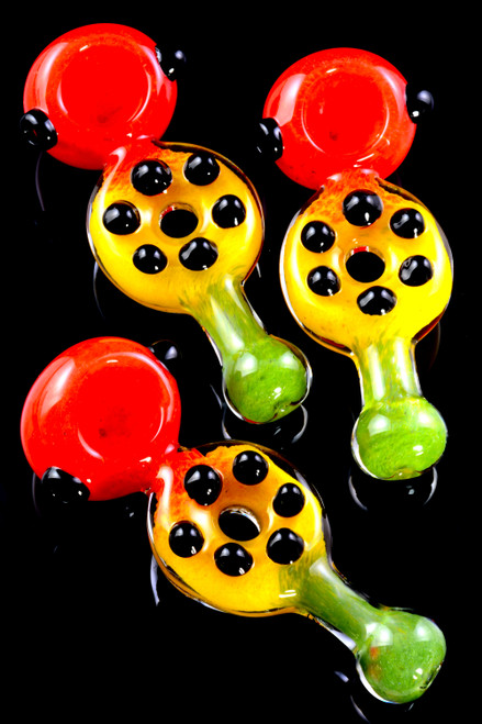 Thick Rasta Frit Donut Hole Glass Pipe - P2294
