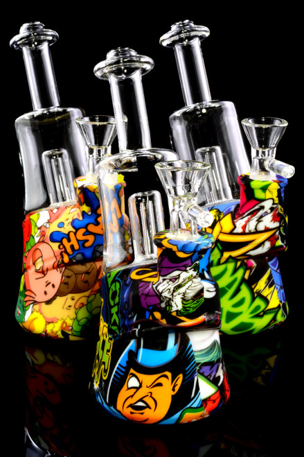 Small Decal Print Silicone Glass Water Pipe with Dome Perc - WP2334