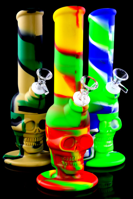 Medium Colorful 2 Part Silicone Skull Water Pipe- WP2335