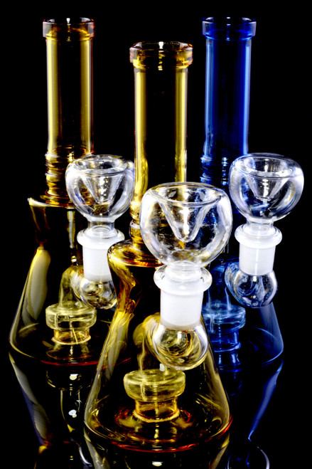 Small Colored Glass on Glass Stemless Beaker Water Pipe with Showerhead Perc - WP2339