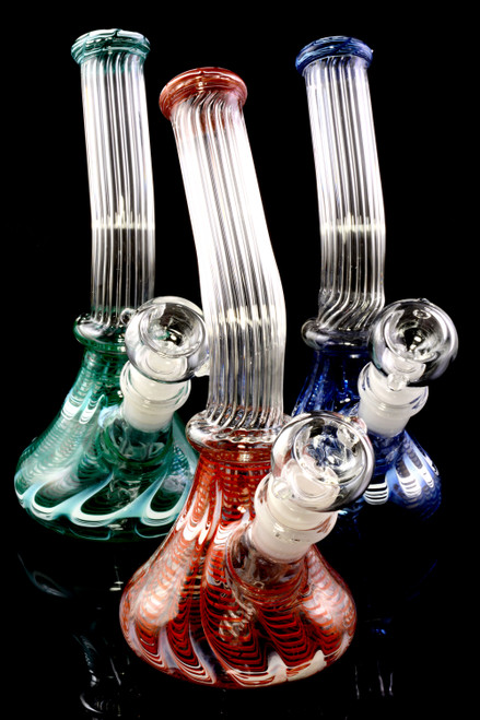 Small Colorful Striped GoG Bent Neck Beaker Water Pipe - WP2340