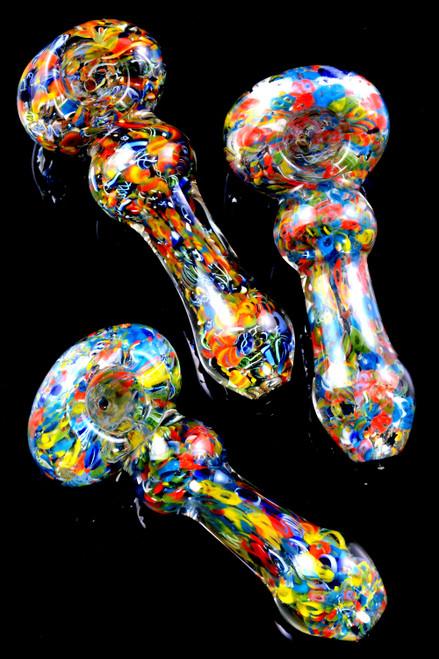Colorful Confetti Frit Glass Pipe - P2337