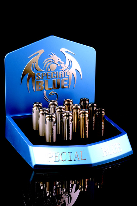 12 Pc Special Blue Bullet Deluxe Torch Lighter Display - L0238