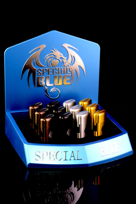 12 Pc Special Blue Classic Deluxe Torch Lighter Display - L0239