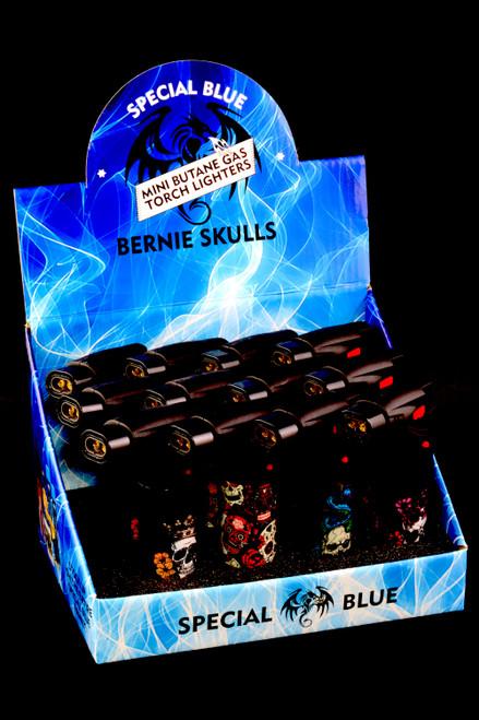 12 Pc Special Blue Bernie Skulls Plastic Torch Lighter Display - L0240