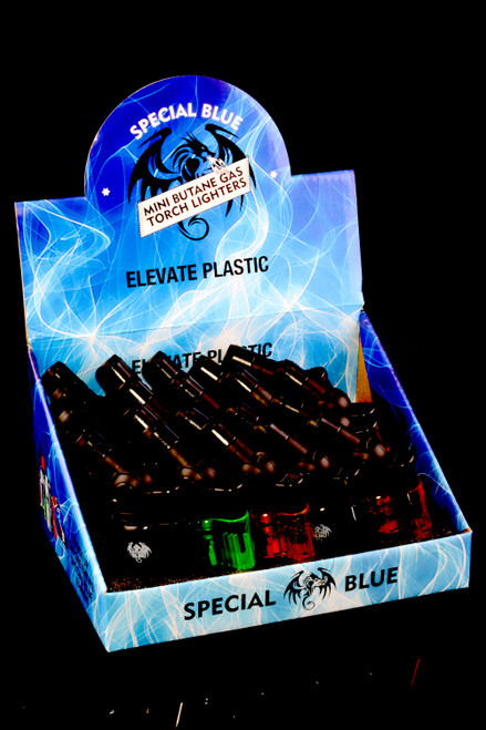 20 Pc Special Blue Elevate Plastic Torch Lighter Display - L0242