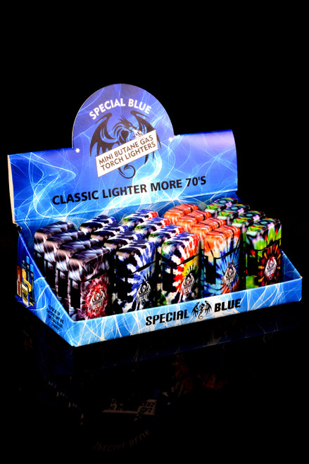 20 Pc Special Blue Classic More 70's Torch Lighter Display - L0246