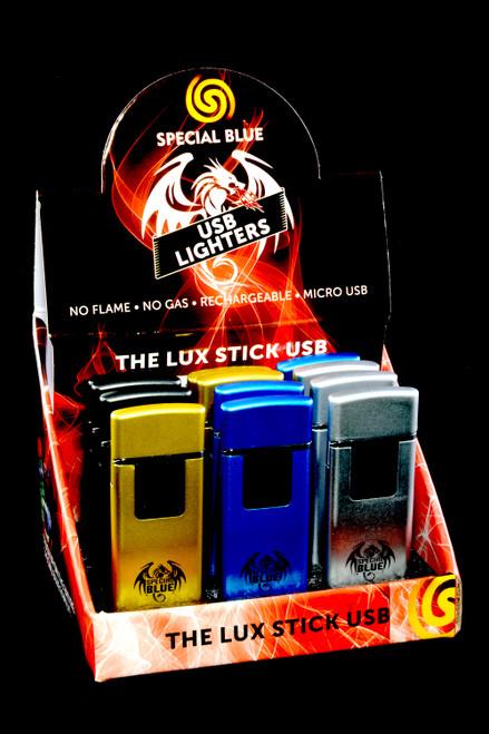12 Pc Special Blue Lux Stick USB Lighter Display - L0251