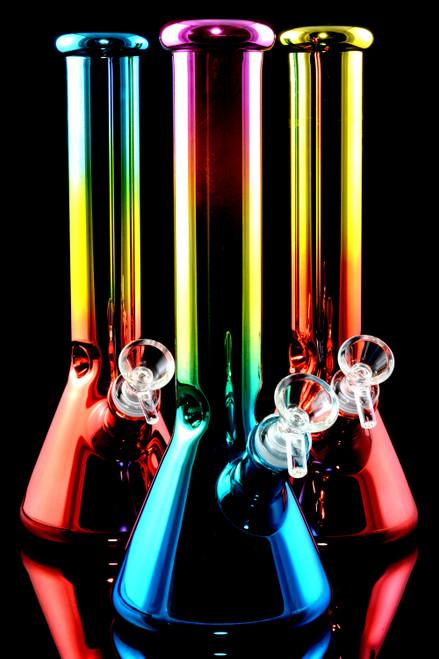 Medium Colorful Metallic Glass on Glass Beaker Water Pipe - WP2355