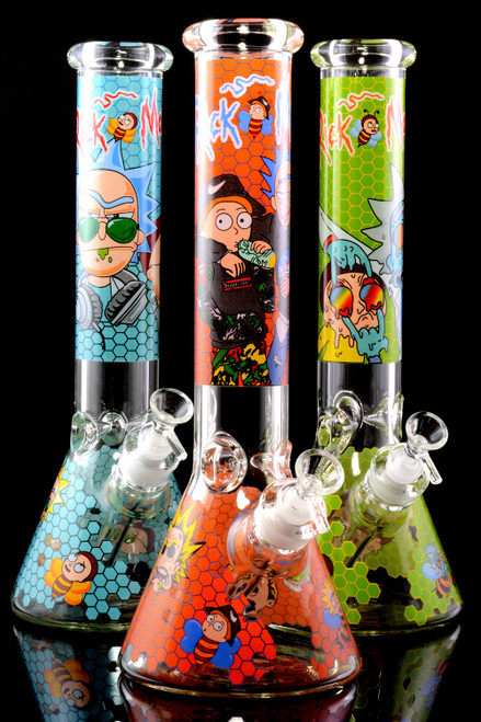 (US Made) Large GoG R&M Decal Beaker Water Pipe with Ice Pinch - WP2371