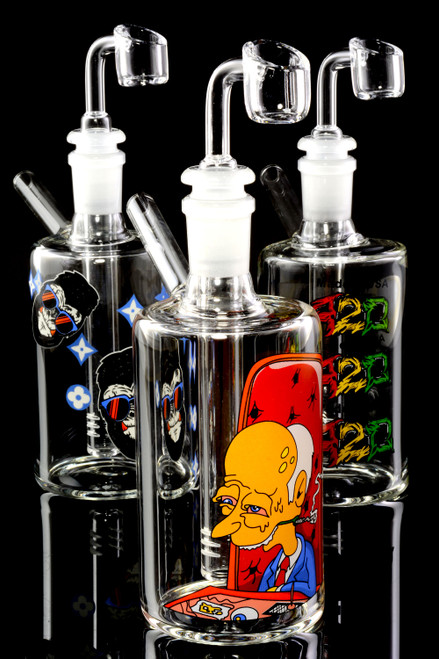 (US Made) Small Glass on Glass Decal Dab Rig Bubbler - B1242
