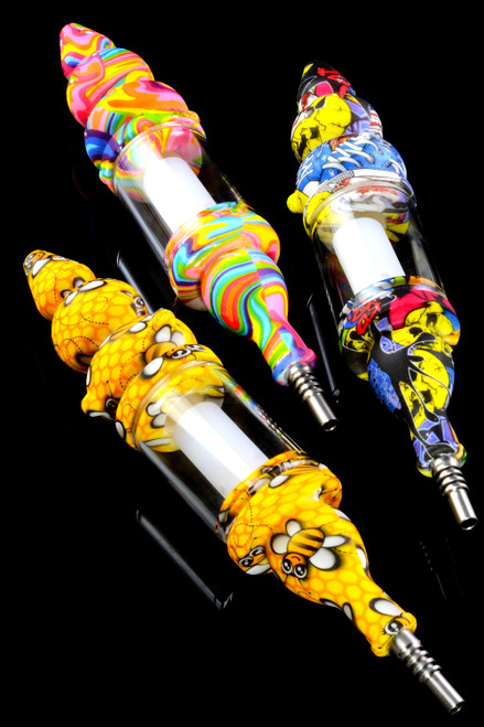 Decal print silicone and glass wholesale nectar collector kits in bulk.