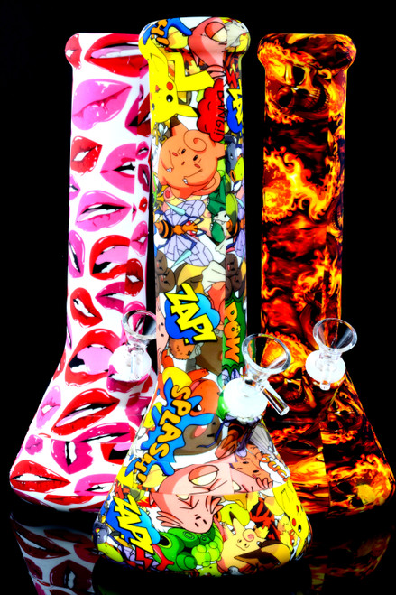 Medium Colorful Decal 2 Part Silicone Beaker Water Pipe - WP2391