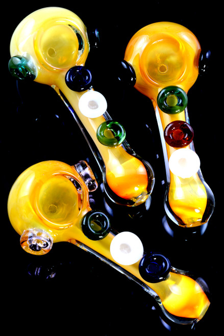 Gold Fumed Color Changing Colored Marbles Glass Pipe - P2367