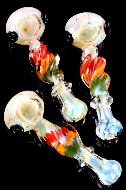 Thick Silver Fumed Rasta Striped Twisted Glass Pipe - P2368