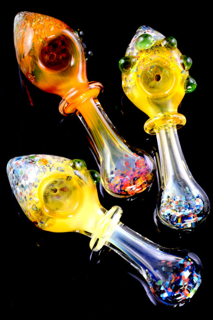 Color Changing Gold Fumed Confetti Frit Ring Glass Pipe - P2379