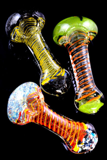 Spiral Striped Multicolor Frit Clear Glass Pipe - P2383