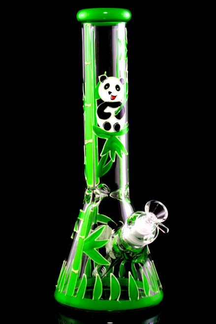 Cute panda bear wholesale glass beaker water pipe for resale.