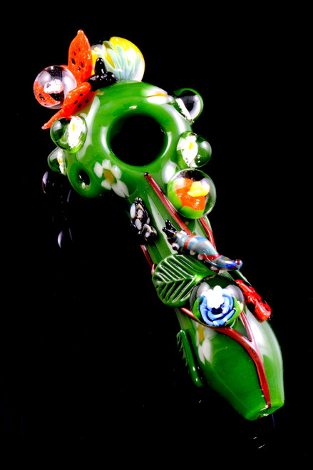 Wholesale unique novelty glass pipes with butterflies and flowers.
