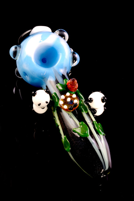 Bulk glass panda hand pipes for smoke shop resale.