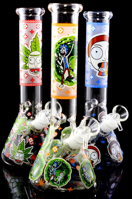 Wholesale Rick and Morty glass beaker water pipes in bulk.