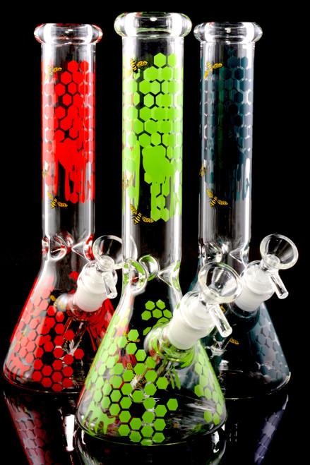 Bulk glass on glass beaker water bongs for head shop resale.