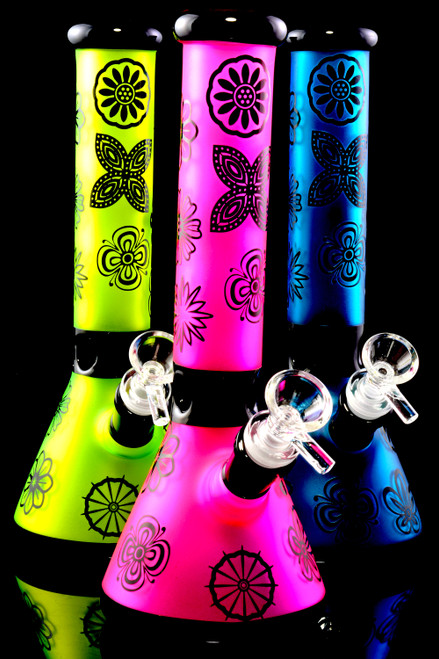 Wholesale frosted colored glass water bongs in bulk.