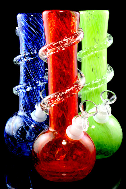 Colorful wholesale soft glass water pipes for head shop resale.