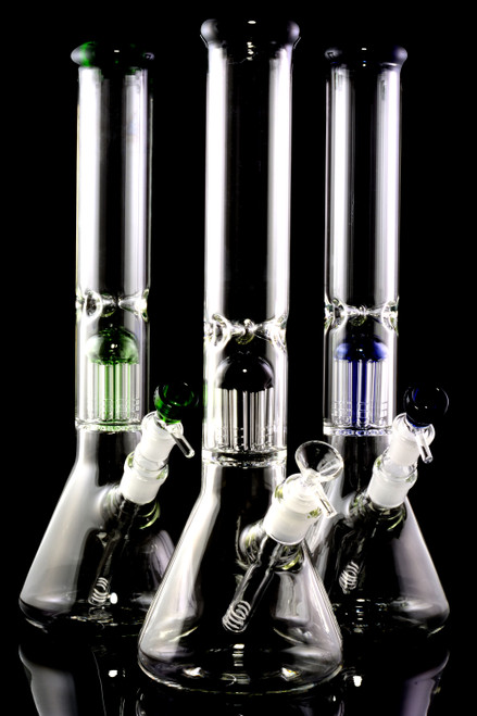 Wholesale glass on glass beaker water pipes for head shop resale.