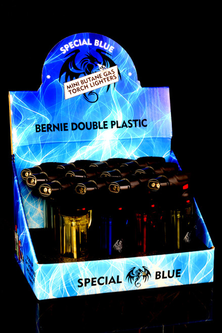 12 Pc Special Blue Bernie Double Plastic Torch Lighter Display - L0254