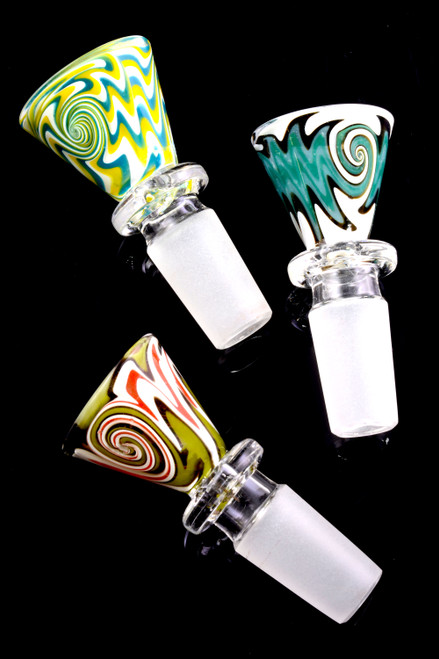 14.5mm Male Colorful Reverse Glass on Glass Bowl - BS733