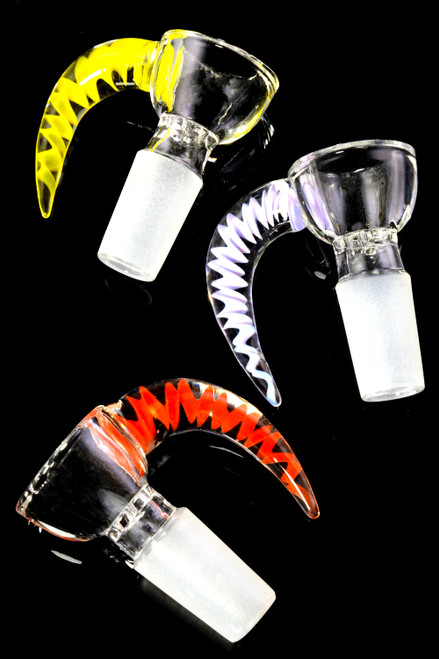 14.5mm Male Clear Glass on Glass Spiked Bowl - BS737