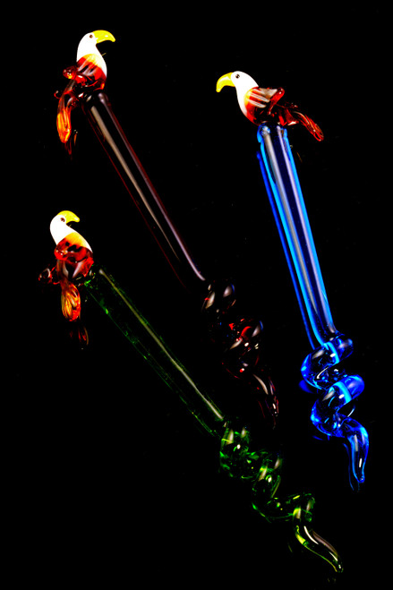 Colored Glass Bird Twisted Dab Tool - M0351