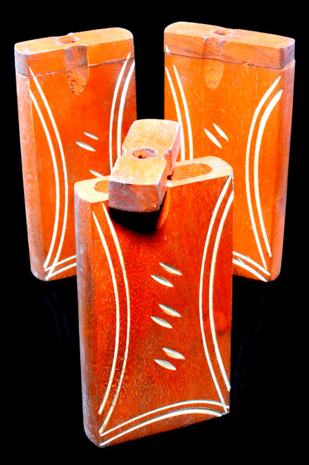 Large Orange Wood Dugout with Carved Design - W0238