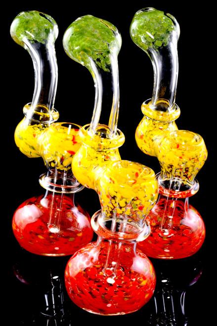 Bulk sherlock glass bubblers with rasta frit design.