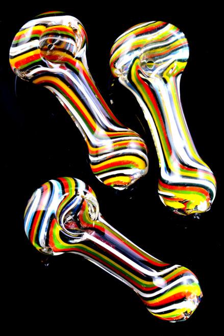 Small wholesale rasta swizzle glass pipes in bulk.