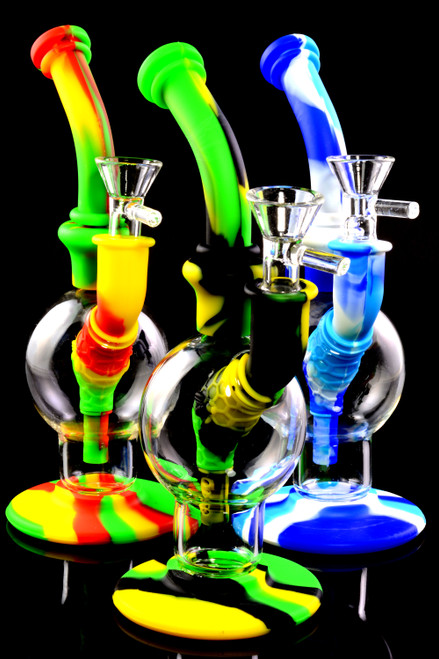 Bulk silicone bongs with glass chambers.