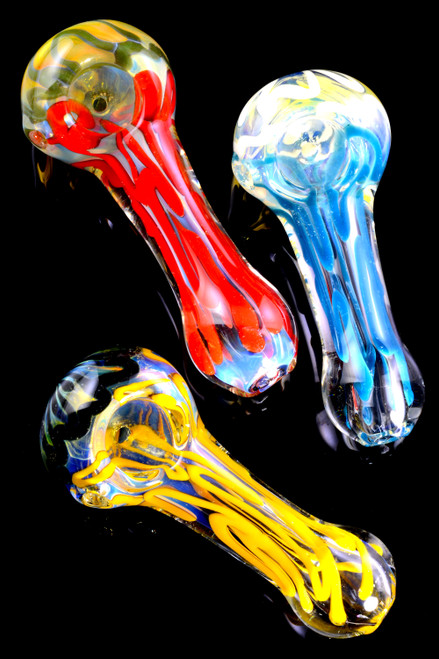 Bulk colorful glass hand pipes for smoking wholesale distribution.
