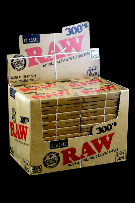 Bulk Raw 300's rolling papers wholesale display for resale.