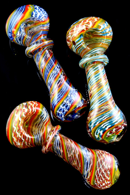 Thick Color Changing Rasta Striped Glass Pipe - P1481