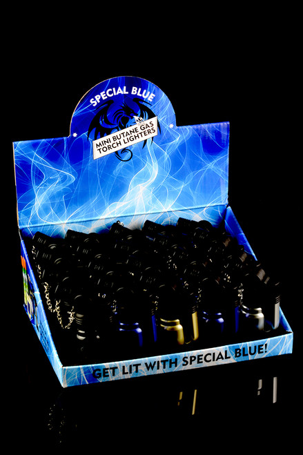 20 Pc Special Blue Mini Metal Torch Lighter Display - L0162