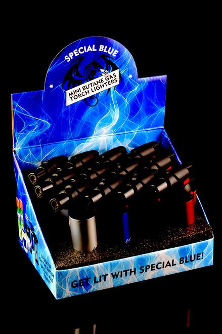 12 Pc Special Blue Bernie Metal Torch Lighter Display - L0163
