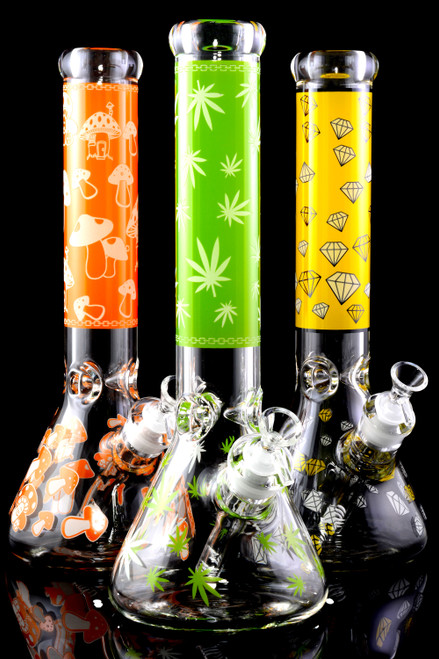 (Mix) Large 7mm Thick Clear Decal Beaker Water Pipe - WP1555