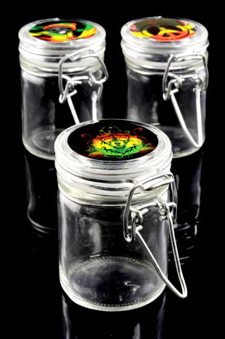 Small Glass Jar with Lid Sticker - J0193