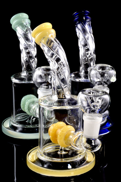Small Stemless GoG Twisted Water Pipe with Showerhead Perc - WP1581
