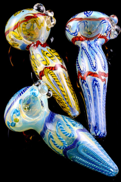 Color Changing Striped Glass Pipe - P1722