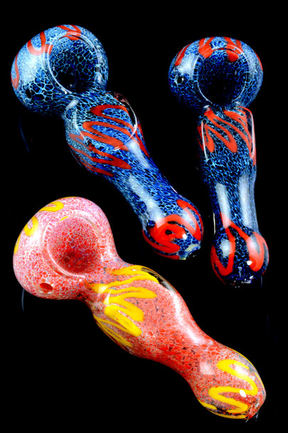 Silver Fumed Frit Striped Glass Pipe - P1723